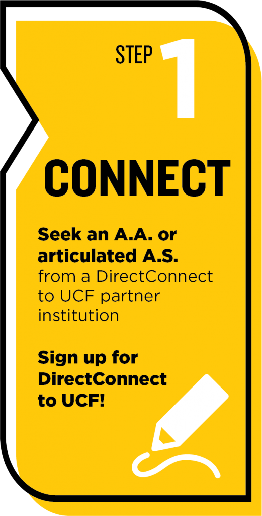 step 1 connect. seek A.A. or articulated A.S. from UCF partner institution