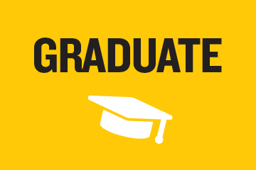 yellow background with back text that says graduate